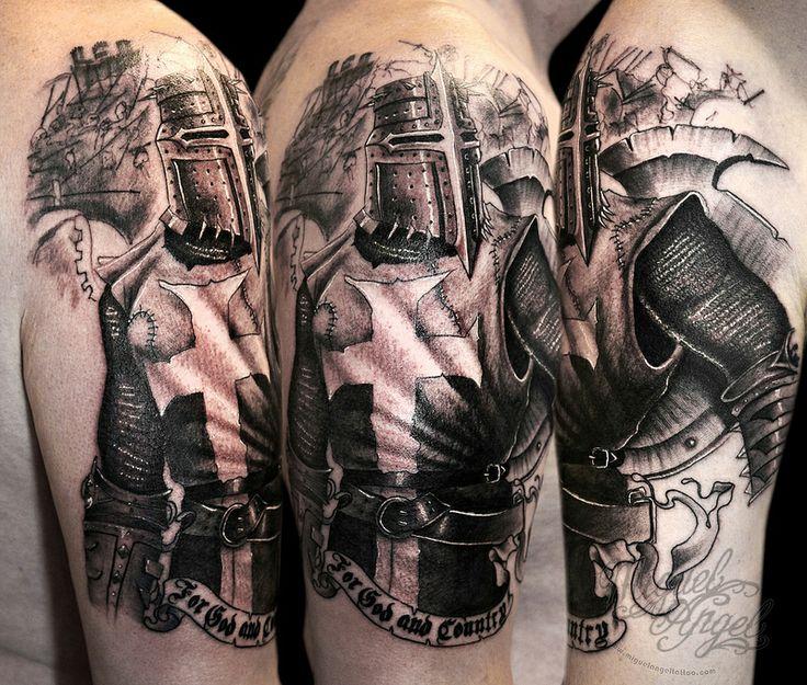 Dark Knight Templar tattoo by Miguel Angel