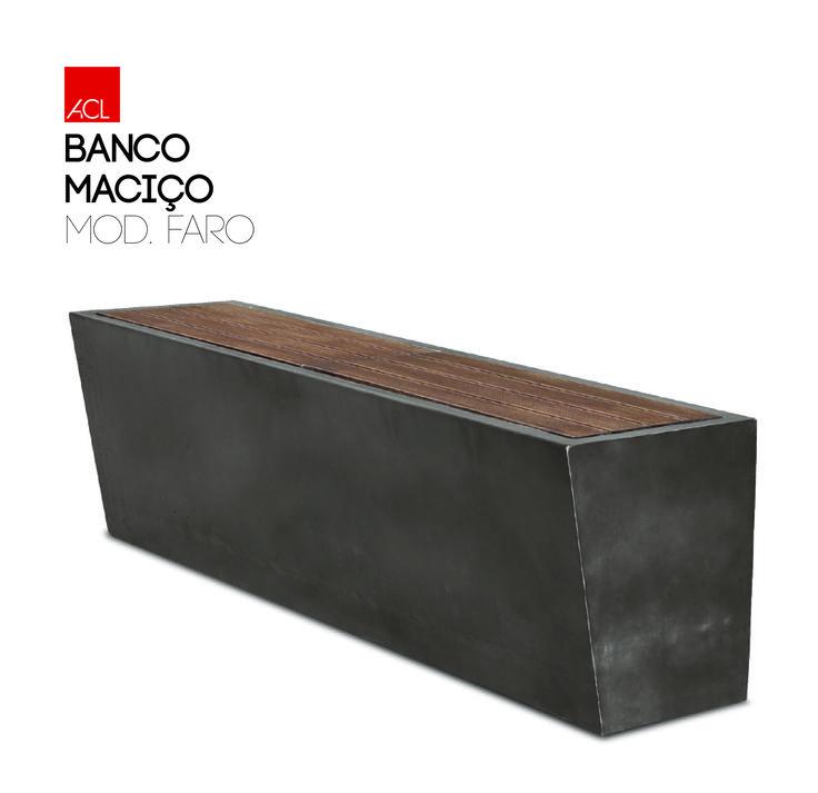Banco Maciço Faro  Madeira-Deck  --  Solid Bench Faro Madeira-Deck  #acl #acimenteiradolouro #bancodejardim #bench #garden #concrete