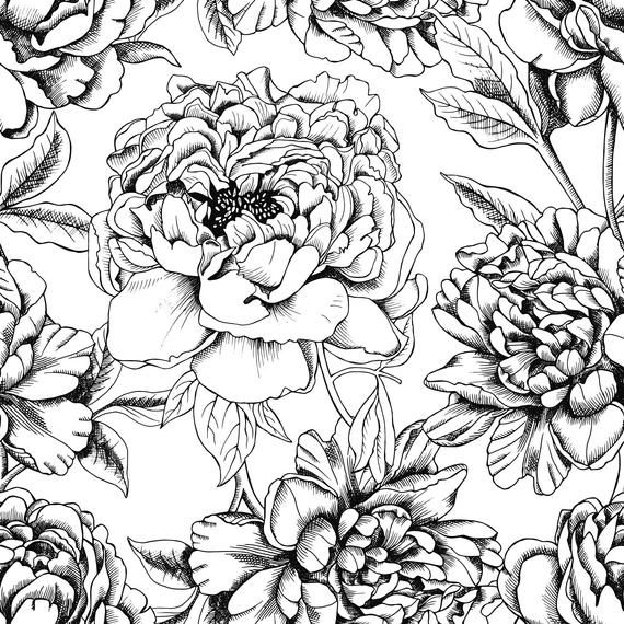 High Quality Peel And Stick Removable Self Adhesive Wallpaper Black White Peonies Flowers Wallpaper Artist Canvas Peel And Stick Wallpaper Flower Wallpaper