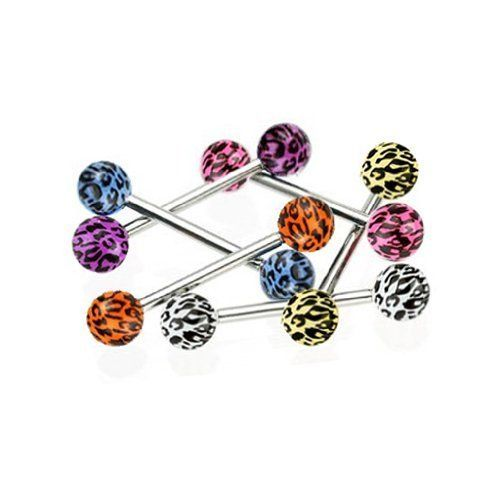 "Tongue Ring Lot of 6 Leopard Print UV Balls Piercing Barbells 316L Surgical Steel 14 Gauges (1.6mm) + 1 Free Tongue Retainer Assorted Color No Duplicates BodyJ4You - Tongue Rings. $0.02. Highest Quality 316L Surgical Stainless Steel. Please choose your color. 1 Free Tongue Retainer. Stainless Steel Gauge: 14G Size: 3/8"". 6 Pieces Barbell Print UV Balls"