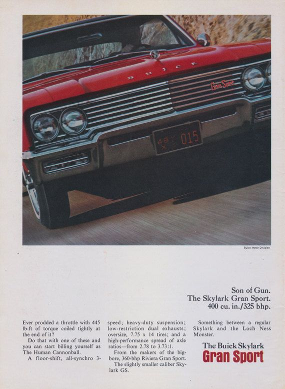1965 Buick Skylark Gran Sport Car Photo Ad Vintage By AdVintageCom