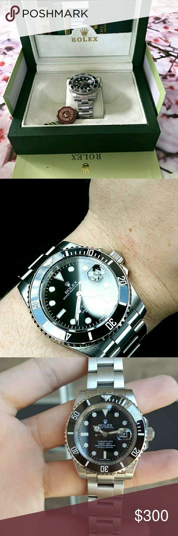Stainless steel and black Submariner Stainless steel Rolex Submariner with a black ceramic bezel, has proper magnification on the cyclops etching at 6 and Most of all it glides. This is a high end rep, that is why the price is in the hundreds. I also accept MG or PP and give a lower price I have done so on posh, and other apps and have had 5 star review. If you have any questions please ask, I ALSO CAN GET JUST ABOUT ANY WATCH SO IF YOU DONT SEE WHAT YOU LIKE ASK ME FOR IT. PLEASE CONTACT ME…
