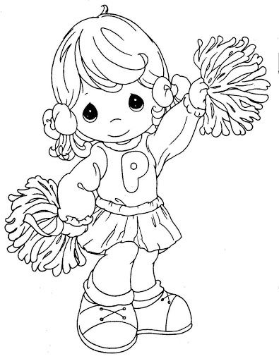 Precious Moments Angels Coloring Pages | Pinto Dibujos: Porrista de los precious moments para colorear