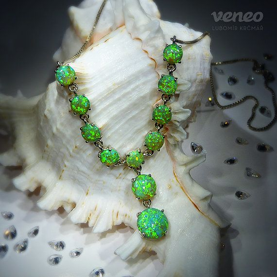 Flora. Silver or Gold Opal Necklace all sizes by Veneo on Etsy, $197.00