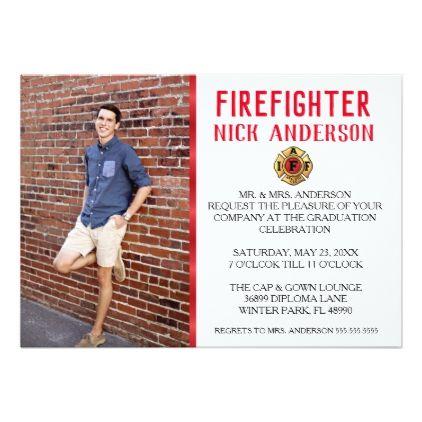 Trendy Firefighter School Graduation Announcement - graduation gifts giftideas idea party celebration