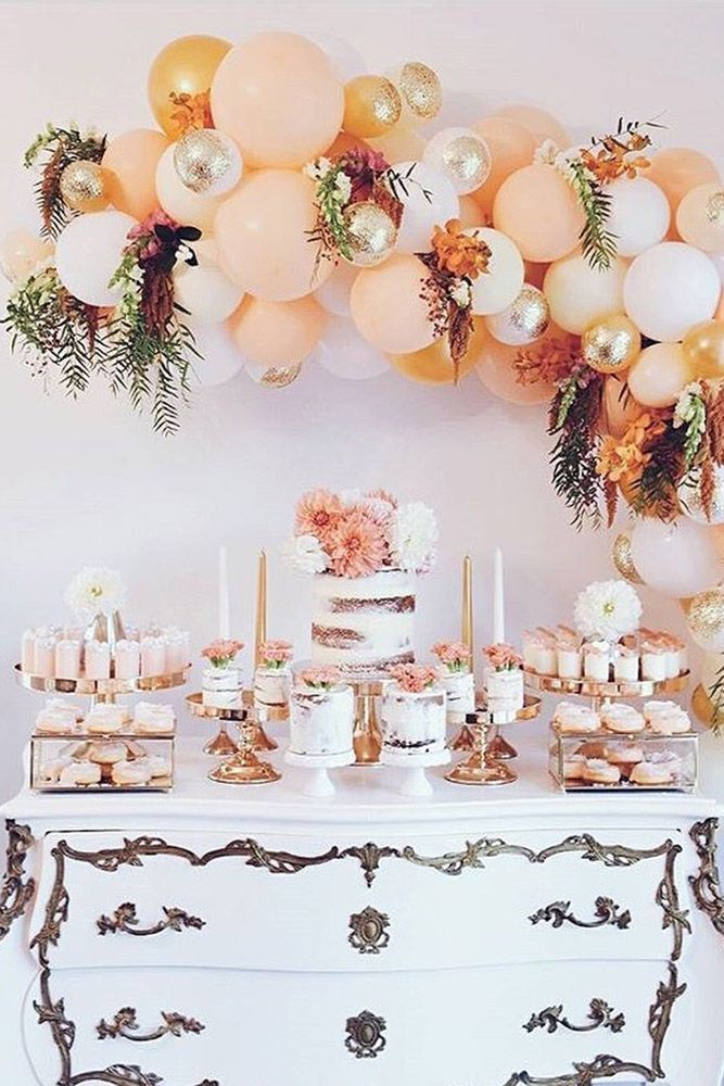 Wedding Balloon Decorations Dessert Table Decorated With Balls Cake With Flowers In Peach Tone Wedding Balloon Decorations Wedding Balloons Wedding Decorations