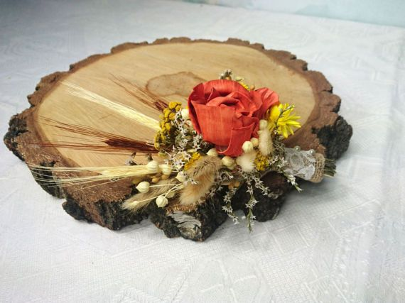 Wheat grain dried flowers grasses burnt orange yellow rustic  #rusticboutonniere, #weddingboutonniere,