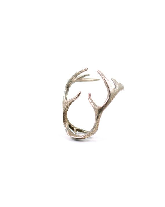 "The ""Conquer"" ring in steel - A modern and elegant antler ring that wraps around your top-knuckle."