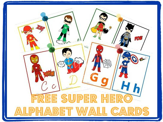 (Free) Super Hero Alphabet Wall Cards in both cursive and manuscript