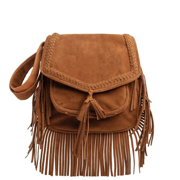 Tobacco shoulder bag with fringes and suede texture.