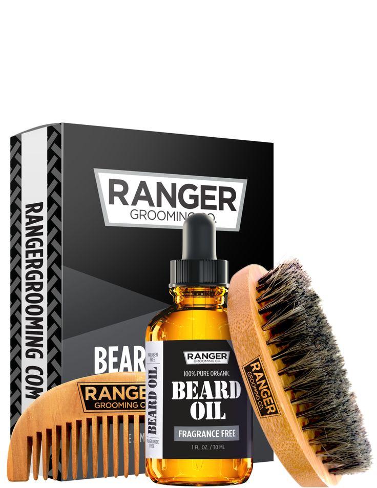 Beard Kit Fragrance Free Beard Oil, Boar Bristle Brush