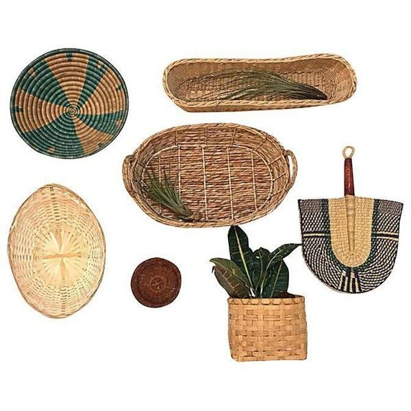 Hand Woven Basket Wall Accents Set Of 7 250 Liked On Polyvore Featuring Home Home Decor Small Item Baskets On Wall Hand Woven Baskets Basket Wall Decor