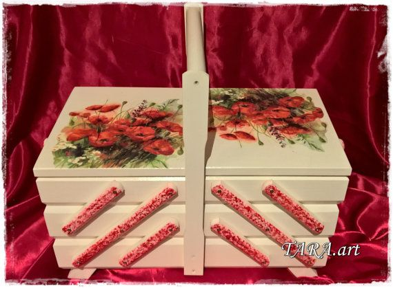 Decoupage sewing box wooden sewing box storage by LaverdureStudio