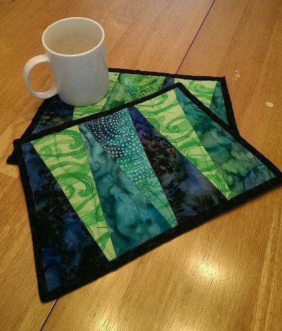 Quilted Trapezoid Snack Mat 2 Triangular Mug Rug Blue Etsy Mug Rug Coffee Coasters Green Quilt