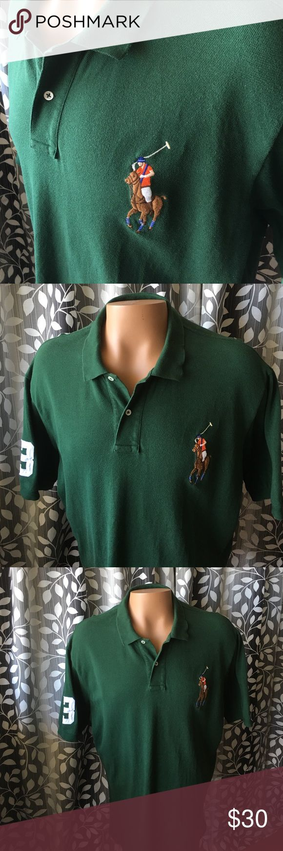 "Polo Ralph Lauren green polo shirt big pony #3 Very nice PRL polo shirt! Colorful big pony with #3 shoulder patch. Size XXL. Armpit to armpit- 26"" shoulder to shoulder- 22"" neck to bottom- 32"". Thanks! Polo by Ralph Lauren Shirts Polos"