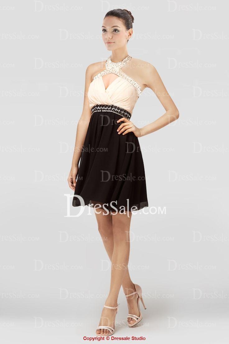 Chic Halter Keyhole Neckline Short Graduation Dress with Exquisite Beading