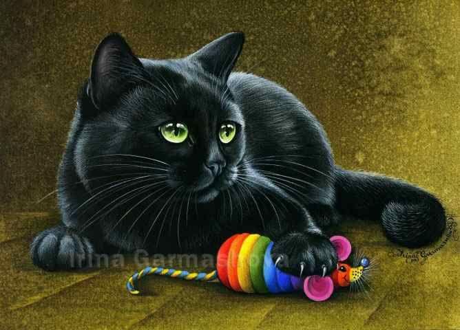 Black Cats Hunting Trophy Irina Garmashova Cats