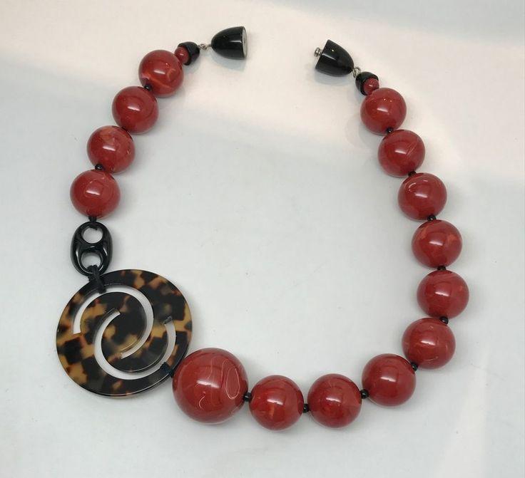 Fabulous Angela Caputi  Resin Swirl Beads & Tortoise Lucite Necklace #AngelaCaputi #Statement