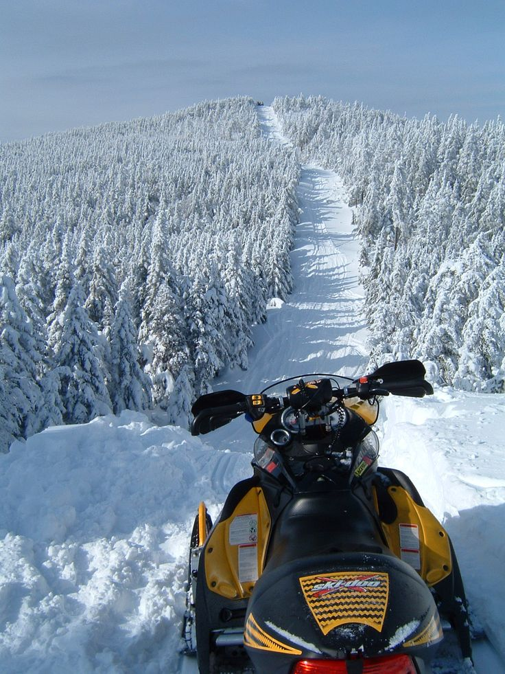 Jackman, Maine snowmobiling ... nothing but open trail ahead