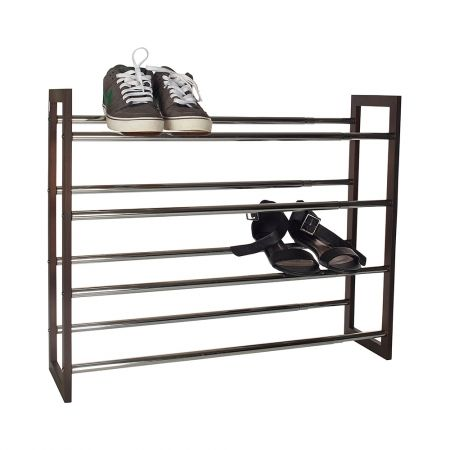 Shoe Storage Howards World 4 Tier Expandable Rack In Chocolate