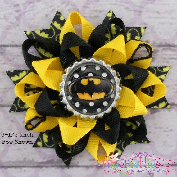 So cute. Think I know someone who would love this. Lol. Batman Loopy Flower Hair Bow by PixiePretties on Etsy