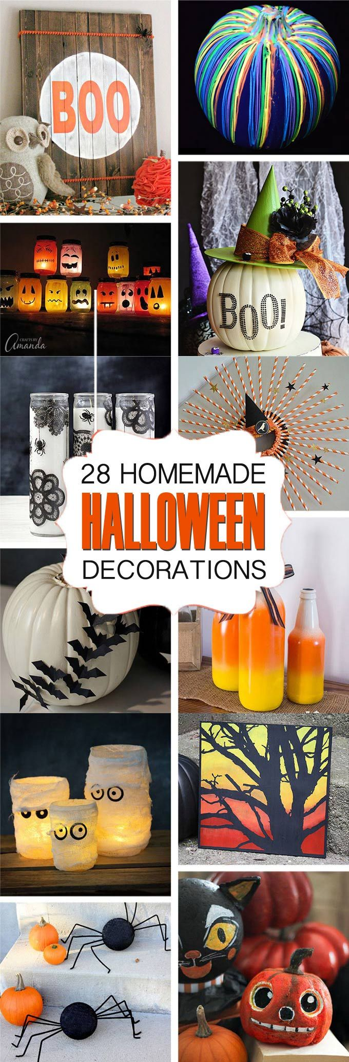 28 Homemade Halloween Decorations - if you are looking for crafty ways to decorate for Halloween that won't cost you a fortune, this list of DIY ideas is full of Halloween crafts you can make yourself!