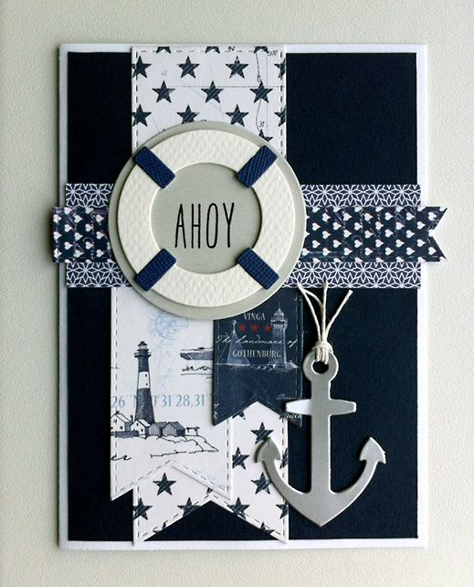 Card nautical marine sailor anchor sea ocean - kort med anchor og redningskrans - maritim - nautisk -