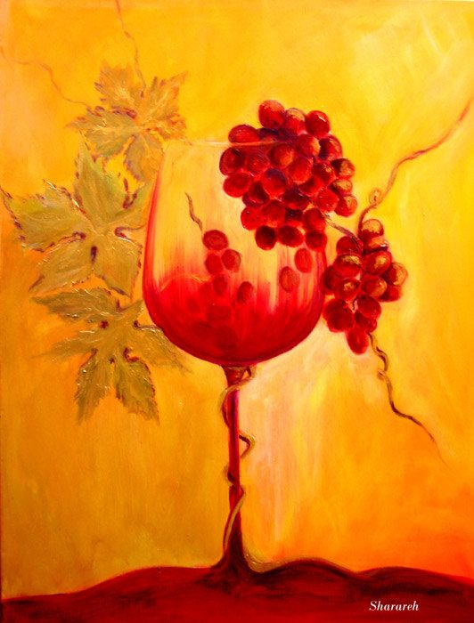 """Wine art, Wine glass art print  -Red wine and grapes with gold leaves digital print on paper  """"Evolution"""""""