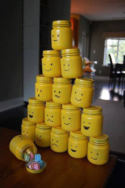 """lego party goodie """"jars"""" made with baby food jars, paint, parment marker, and candy"""