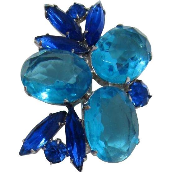 Aquamarine and Sapphire Blue Rhinestone Brooch. Vintage Jewelry under $25 at Ruby Lane @Ruby Lane