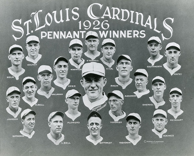 """""""St. Louis Cardinals 1926 Pennant Winners."""" Photograph by W. C. Persons, 1926. Missouri History Museum Photograph and Prints Collections."""