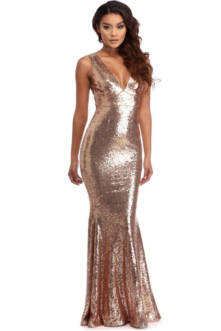 Cassidy Rose Gold Sequin Mermaid Dress Windsorcloud