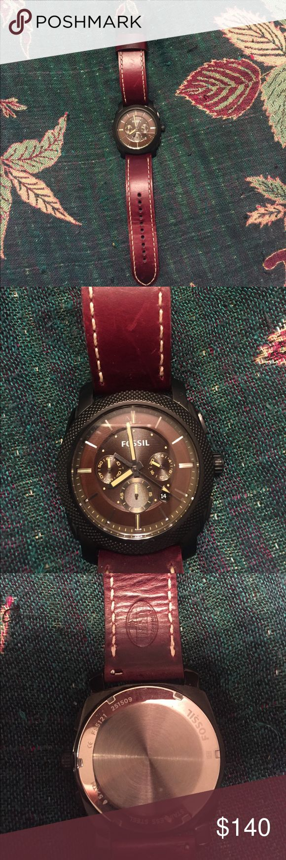 Men's Fossil watch Men's fossil watch. Leather band. Worn only a handful of times. No scratches and keeps time perfectly. Fossil Accessories Watches