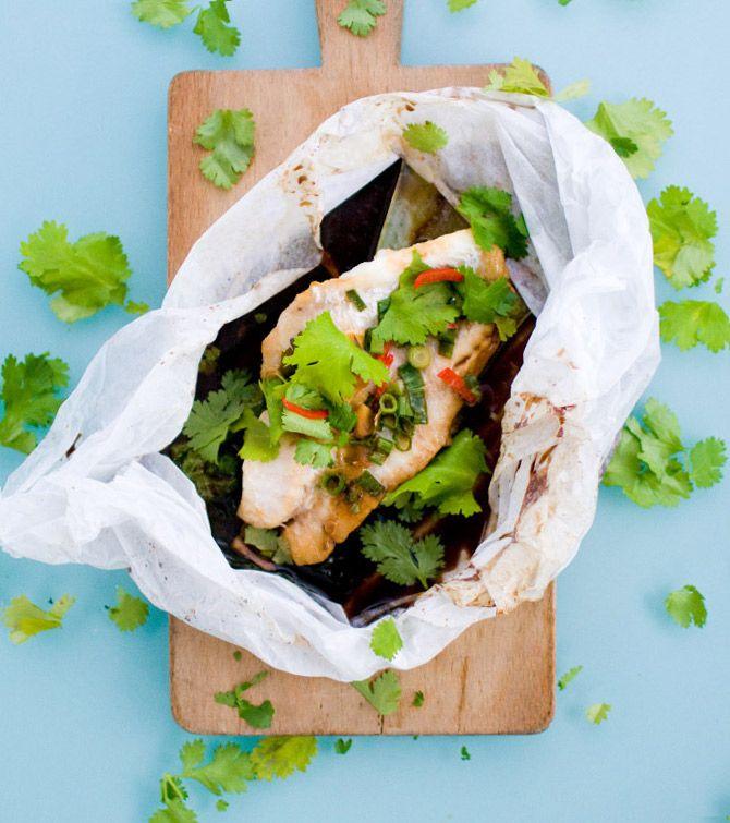 Thai Fish Fillets Steamed in a Bag