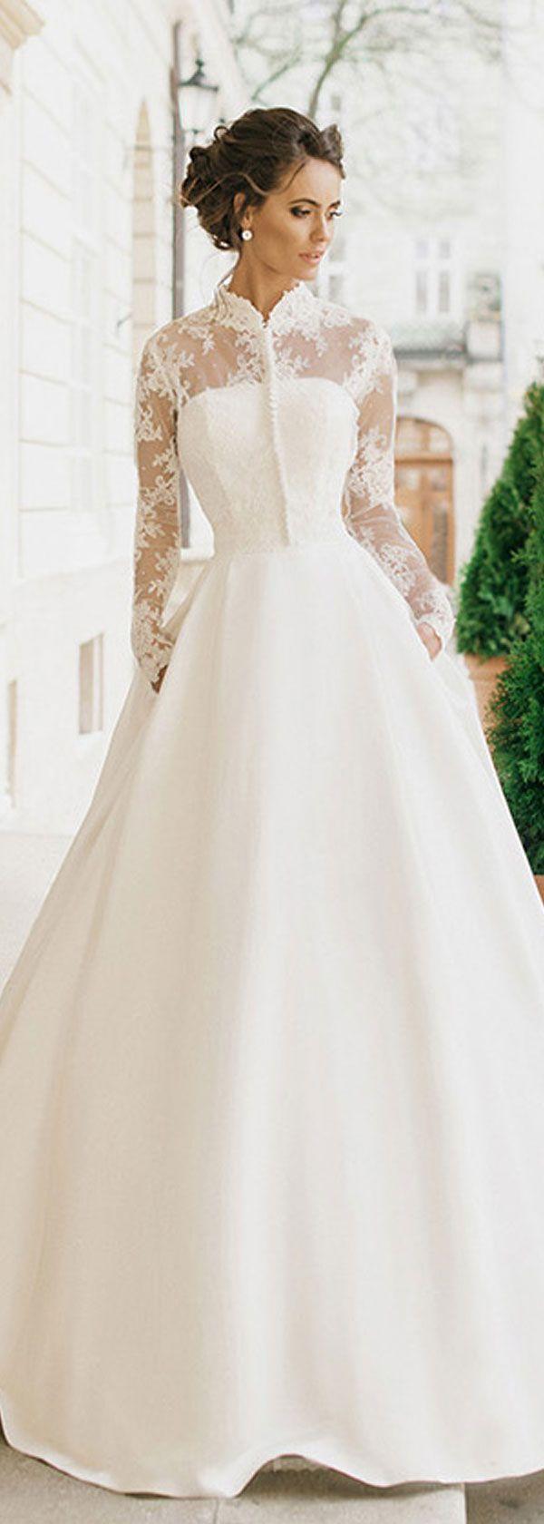 Gorgeous Satin High Collar NecklineA-line Wedding Dresses With Detachable…