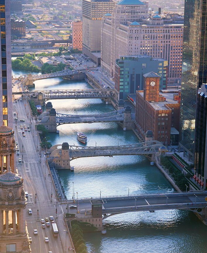 Chicago River, Wacker Drive as seen from the Carbine Building ♥ Repinned by Annie @ www.perfectpostage.com