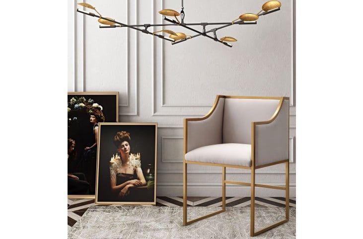 Atara Cream Velvet Gold Chair from TOV Furniture (L6122) | Coleman Furniture