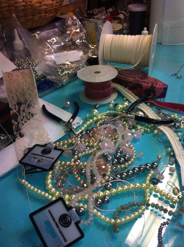 rainy day!romantic mood!pearls and laces in romantic palette colors...