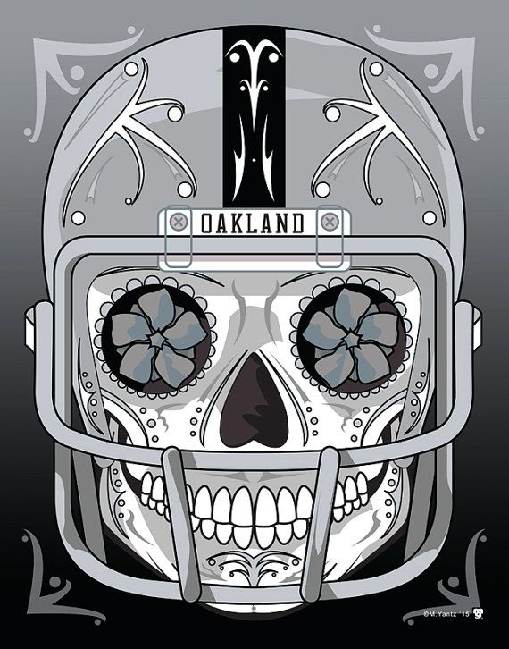 Hey, I found this really awesome Etsy listing at https://www.etsy.com/listing/217002446/oakland-raiders-sugar-skull-11x14-print