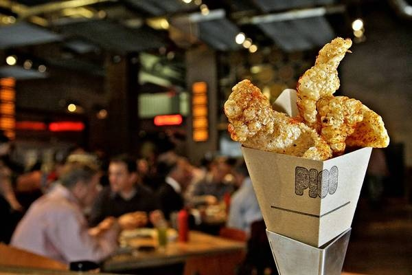 Cone O' Cracklins, a snack of fried pig's ears, from Umamicatessen