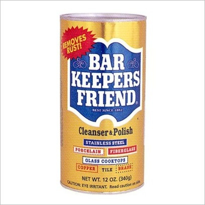 POWDERED Bar Keeper's Friend is a miracle worker. I've used it to: remove hard water buildup in the toilet bowl, remove soap scum in the shower, bleach a porcelain sink, clean and polish my ceramic cook-top, remove coffee stains from inside a cup, remove rust from chrome running boards on an automobile, shine my cookware, clean and polish my stainless steel sink, remove stains from a high-chair tray, etc. etc. etc. (but be sure to wear gloves).
