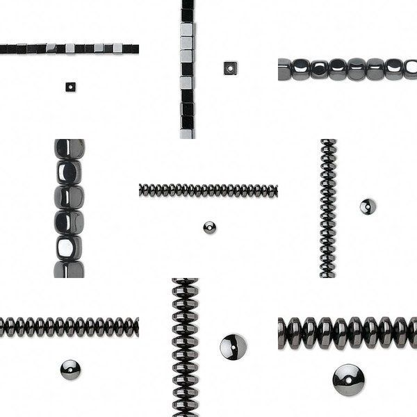 You Pick Hematite 16 Inch Strand Beads Hemalyke Man-Made Metallic Gunmetal Color #MetallicStoneBeads