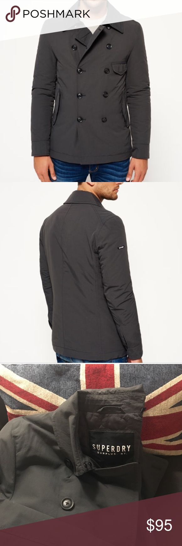 NWOT Superdry Blockade Aviator Coat Fitted padded pea coat. Nylon exterior, the perfect mix of form and function for transitional weather. Dark grey in color. New, never worn condition. No trades, please ask if any questions. Reasonable offers always welcome. Superdry Jackets & Coats Pea Coats