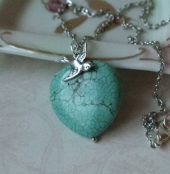 Turquoise Heart Necklace  Southwestern Jewelry by vintageandglam