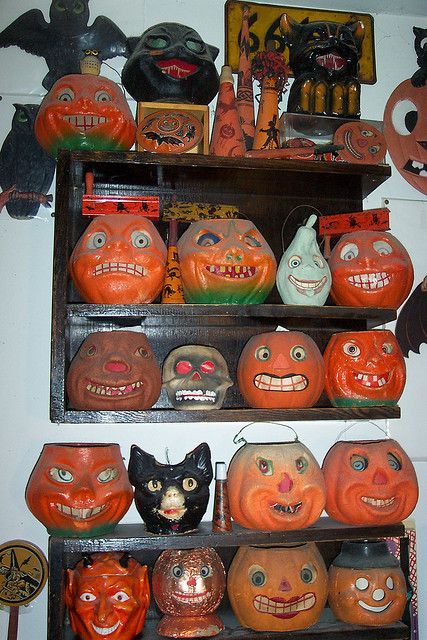 We had a pumpkin head like these that fit over a lamp, and that was our Jack O'Lantern for years. Wish I still had it.
