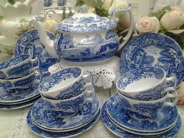 Spode Blue Italian Tea Set England