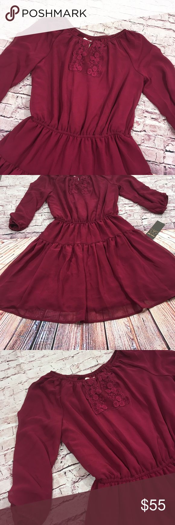 Anthropology Ella Moss Dress NWT Anthropology Ella Moss Peasant Dress Size 14 (Small) NWT Burgundy Wine Color 100% Polyester Sheer w/dress liner attached Elastic waist band Ella Moss Dresses Midi