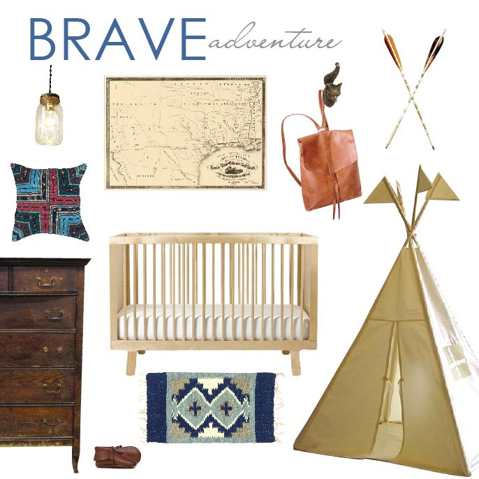 Brave boho nursery. Bohemian kids style. Teepee. Prayer rug. Southwestern. Texas map. Adventure awaits. Vintage oak dresser. Arrows. Leather backpack. Mason jar light fixture.