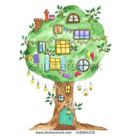 Watercolor fairytale oak with windows, garlands, lamps, flags. Tree with door…