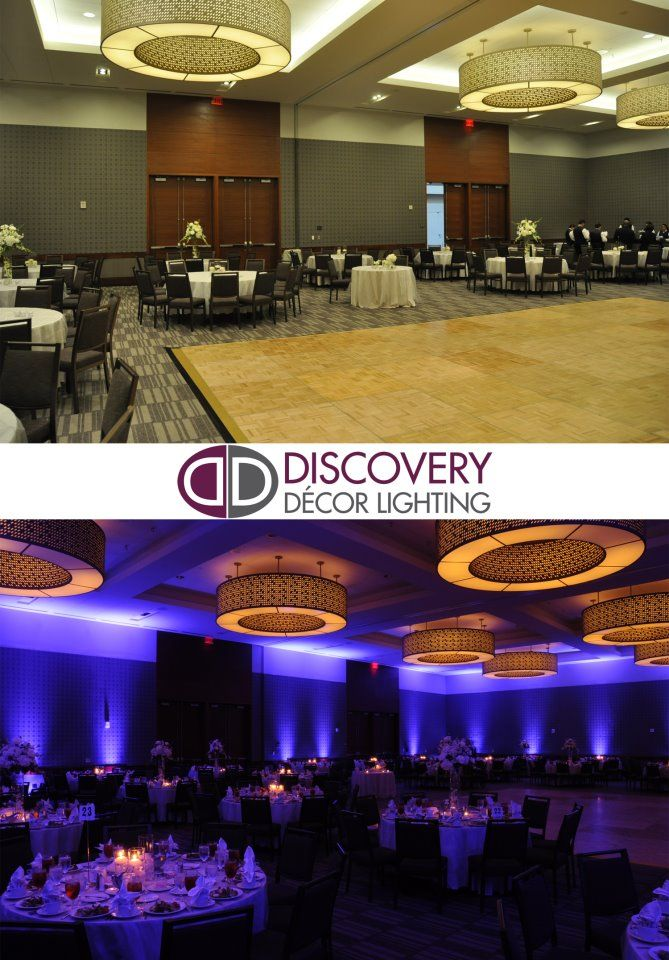WOW! What a difference uplighting makes! Disocvery Decor Lighting transformed this wedding from blah to beautiful! #blue #wedding #uplighting